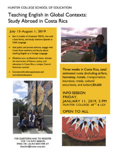Flyer describing info session and study abroad. Contact lbaecher@hunter.cuny.edu for details.