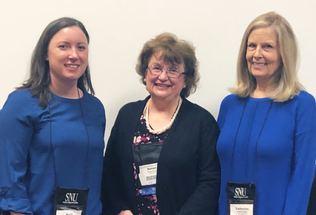 L. Beth Brady alongside her mentor Dr. Susan Bruce of Boston College, and Dr. Cathy Nelson of Utah