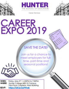 This is a flyer for the 2019 Career Expo.