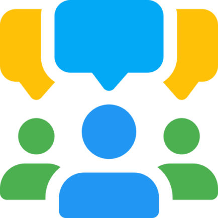 Illustration of people talking in a group